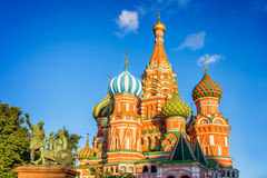 Monument to Minin and Pozharsky and St Basil`s cathedral on Red Square, Moscow Russia. Monument to Minin and Pozharsky and St Basil`s cathedral on Red Square Royalty Free Stock Photography