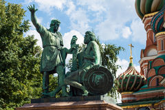 Monument to Minin and Pozharsky in St. Basil's Cathedral of Krem Stock Images