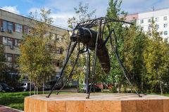 Monument to a mosquito-oil industry worker in Usinsk Royalty Free Stock Photography