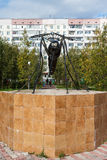 Monument to a mosquito-oil industry worker in Usinsk Royalty Free Stock Photo
