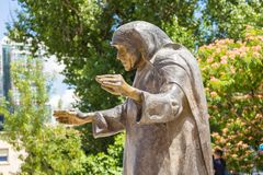 Monument to Mother Teresa in the center of Tirana, Albania. royalty free stock photography