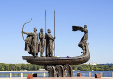 Monument to the mythical founders of Kiev on the Dnieper river. Stock Photo