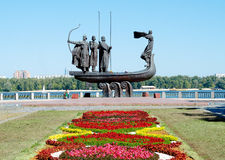 Monument to the mythical founders of Kiev on the Dnieper river. Royalty Free Stock Photos