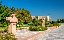 Monument to Naimanbai Manaschy on the Alley of Youth in Bishkek - Kyrgyzstan. Monument to Naimanbai Manaschy on the Alley of Youth in Bishkek in Kyrgyzstan royalty free stock photo