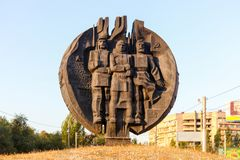 Monument to national fighters rebels of STZ. VOLGOGRAD, RUSSIA - June 25, 17: A monument to national employees of the tractor plant to the fighters rebels of STZ Royalty Free Stock Image