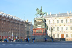 The monument to Nicholas I and Hotel Astoria. Royalty Free Stock Photography