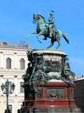 Monument to Nicholas I. Installed in 1859 on St. Isaac's Square in St. Petersburg. Located between the Mariinsky Palace and St. Isaac's Cathedral. Monument was Royalty Free Stock Image