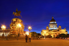 Monument to Nicholas I and Isaac's Cathedral Stock Image