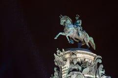 Monument to Nicholas I at snowy winter night. Saint Petersburg Stock Photo