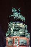 Monument to Nicholas I at snowy winter night. St Petersburg Stock Images
