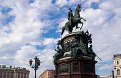 Monument to Nicholas I on St. Isaac`s Square royalty free stock image