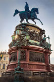 The Monument to Nicholas I on St Isaac`s Square in Saint Petersb Stock Photos