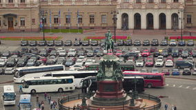Monument to Nicholas I on St. Isaac`s Square. View from St. Isaac`s Cathedral. stock footage