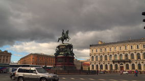 The monument to Nicholas I was erected on St. Isaac`s Square in St. Petersburg. stock video footage