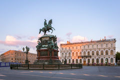 Monument to Nicholas 1 on St. Isaac`s Square in St. Petersburg i Royalty Free Stock Image