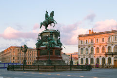 Monument to Nicholas 1 on St. Isaac`s Square in St. Petersburg i Royalty Free Stock Photography
