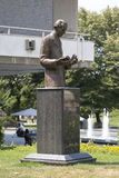 Monument to Nicolas Tesla in Belgrade near the building of the National Library of Serbia Stock Photo