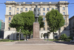 Monument to Nikolai Aleksandrovich Dobrolyubov on the Bolshoy Prospekt of the Petrograd Side in St. Petersburg Stock Image