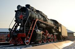 Monument to the old steam locomotive. Such steam locomotives were used in the first half of the 20th century, in the Soviet Union. Russia. Siberia Stock Photo