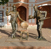 Monument to Ostap Bender and Kise Vorobyaninov. August 19, 2017: Monument to Ostap Bender and Kise Vorobyaninov. Heroes of the novel Ilf and Petrov `12 chairs` Stock Photo