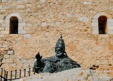 Monument to Papa Luna, in Peniscola Castle, in Valencia, Spain stock photo