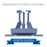 Monument to Party Founding Pyongyang North Korea vector landmark. Monument to Party Founding in Pyongyang North Korea. Flat cartoon style historic sight royalty free illustration