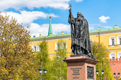 Monument to Patriarch Hermogenes in Alexander garden in Moscow. Royalty Free Stock Images