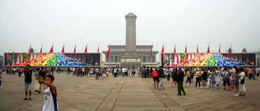 A Monument to the People's Heroes. And Mao's Mausoleum Flanked by Huge Video Screens Royalty Free Stock Image