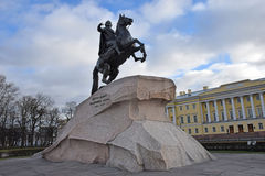Monument to Peter 1, the bronze horseman Stock Photos