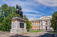 The monument to The Peter The First and the entrance to the Mikhaylovsky Castle. Royalty Free Stock Photos