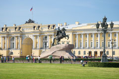 Monument to Peter the Great on the background of the building of the Constitutional court of Russia. Saint Petersburg Stock Photo