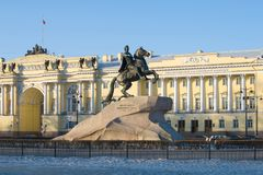 Monument to Peter the Great Bronze Horseman against the background of the building of the Constitutional Court of Russia on the. ST PETERSBURG, RUSSIA - MARCH 16 Stock Photo