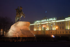 Monument to Peter the Great Bronze Horseman, 1782 and the building of the Constitutional Court of Russia, Saint-Petersburg Stock Photo