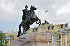 Monument to Peter the great bronze Horseman on the Senate square Stock Images