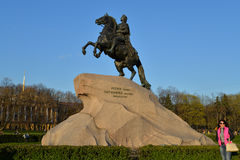 The monument to Peter the great the bronze horseman in the sprin Royalty Free Stock Photo