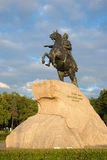 Monument to Peter the Great (Bronze Horseman, the symbol of St. Petersburg) on the background Stock Photography