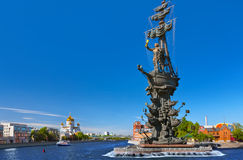 Monument to Peter the Great and Cathedral of Christ the Savior - Stock Image