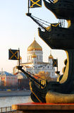 Monument to Peter the Great, Christ the Savior church in Moscow Royalty Free Stock Photography