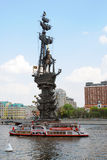 Monument to Peter the Great, a cruise ship sails on the Moscow river. Stock Photos
