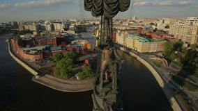 Monument to Peter the Great in Moscow. Aerial view stock video
