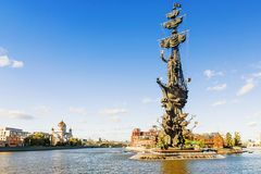The monument to Peter the Great in Moscow, Russia Royalty Free Stock Photography