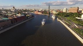 Monument to Peter the Great in Moscow. Russia, Moscow, August. You can see monument to Peter the Great, ship sailing on the river, city traffic, park and stock footage