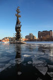 Monument to Peter Great on Moskva river. And houses, height of monument is 98 meters Stock Photography
