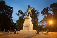 Monument to Peter the great, night. Kronshtadt, Russia Stock Images