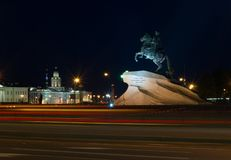 Monument to Peter the Great 1, with street lighting in the evening, St. Petersburg, Russia royalty free stock photo