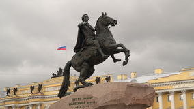 Monument to Peter the Great. Saint-Petersburg, Russia - July 3, 2017: Monument to Peter the Great stock video footage