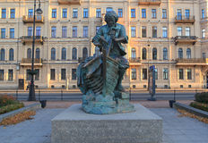 Monument to Peter I on the Admiralty Embankment King carpenter. St. Petersburg, Russia Stock Photo