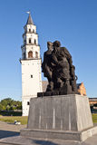 Monument to Peter I and Demidov and Leaning Tower. Nevyansk. Royalty Free Stock Photo