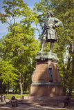 Monument to Peter I in Kronstadt. KRONSTADT, RUSSIA - AUGUST 23, 2014: A bronze Monument to Peter I in Petrovsky Park on Makarovskaya street in the city of Royalty Free Stock Photos