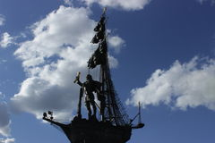 Monument to Peter I Moscow city. Father shipbuilding in Russia. In commemoration of the 300th anniversary of the Russian fleet stock photos